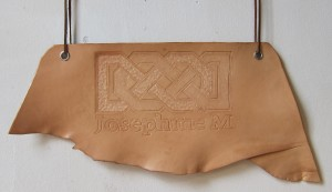 First attempt at leather tooling, I made a Josephine M sign to use at craft fairs.
